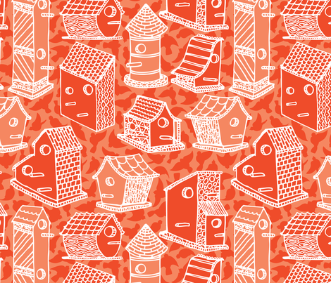 Bird House - tangerine fabric by noaleco on Spoonflower - custom fabric