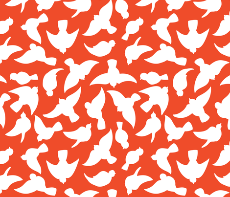 Small Flock - tangerine fabric by noaleco on Spoonflower - custom fabric