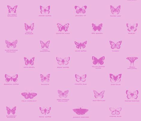 butterfly alphabet - pale pink fabric by weavingmajor on Spoonflower - custom fabric