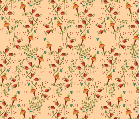Russian Floral-ditsyapricot fabric by leslipepper on Spoonflower - custom fabric