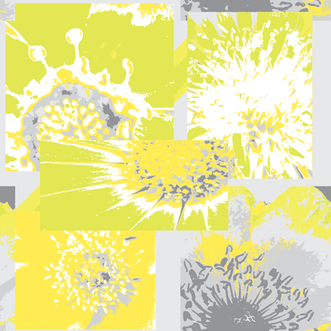 Flower Centers - Grey & Yellow fabric by petals_fair_(peggy_brown) on Spoonflower - custom fabric