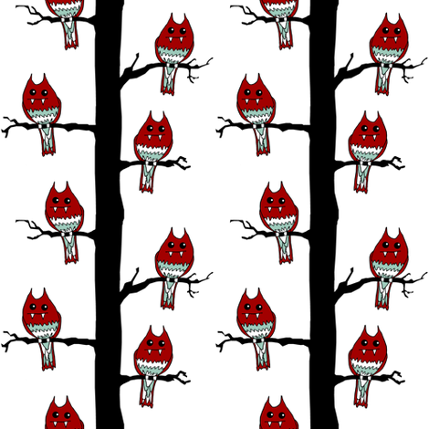 Red Monster Birds fabric by pond_ripple on Spoonflower - custom fabric