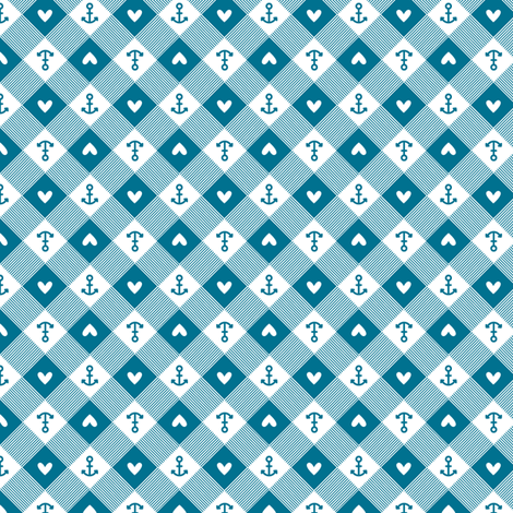 anchor gingham in blue fabric by charlotteandstewart on Spoonflower - custom fabric