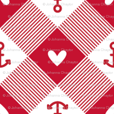 anchor gingham in red