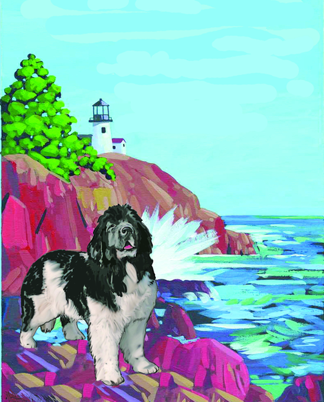 Newf With Lighthouse Curtain Panel Right Facing fabric by dogdaze_ on Spoonflower - custom fabric