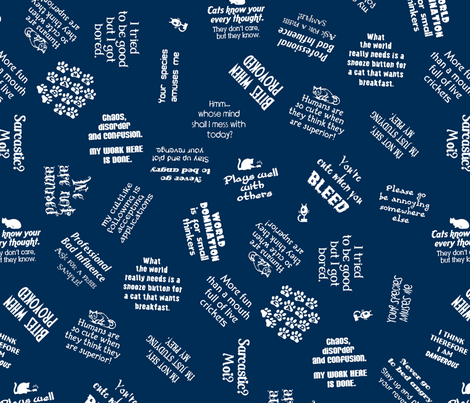 Sarcastic cat sayings fabric by hannafate on Spoonflower - custom fabric