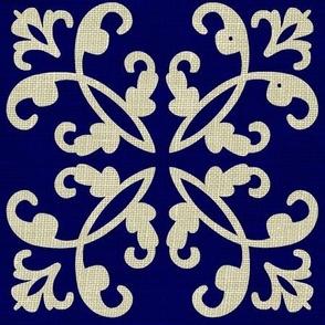 Navy & Linen Weave