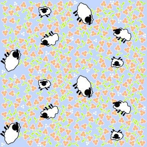 Ditsy Fluffy Sheep Eating Flowers