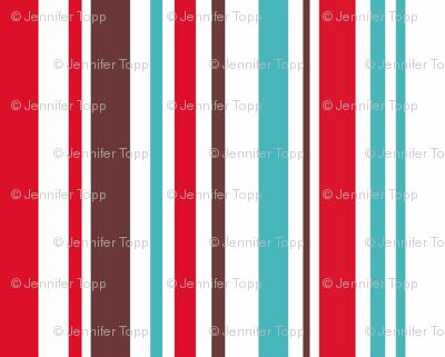 Aqua, red and brown stripe