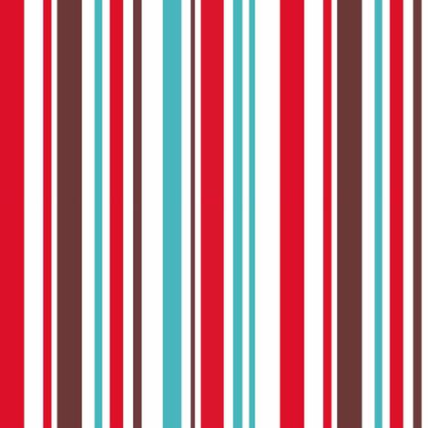 Aqua, red and brown stripe fabric by pinkbrain on Spoonflower - custom fabric