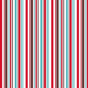 Aqua, red and brown stripe