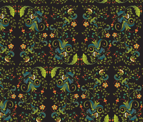 rusfloralsecondary-blk fabric by leslipepper on Spoonflower - custom fabric