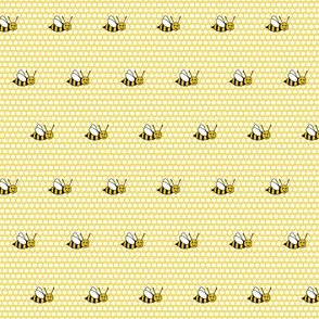 Bee Happy on Yellow Honeycomb
