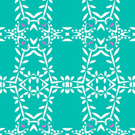 Phula Check (Aqua) fabric by nekineko on Spoonflower - custom fabric