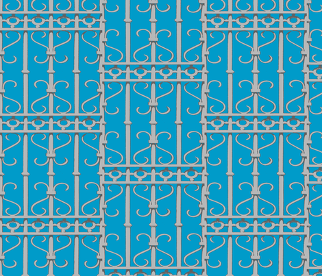 Old Money Behind this Fence fabric by susaninparis on Spoonflower - custom fabric