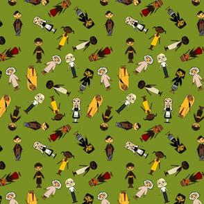 Multicultural Children Olive background Small tile