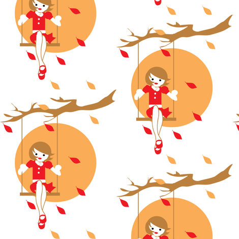 Autumn Girl fabric by kiwicuties on Spoonflower - custom fabric