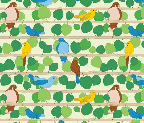 Birds and Vines | Full Color fabric by wildnotions on Spoonflower - custom fabric