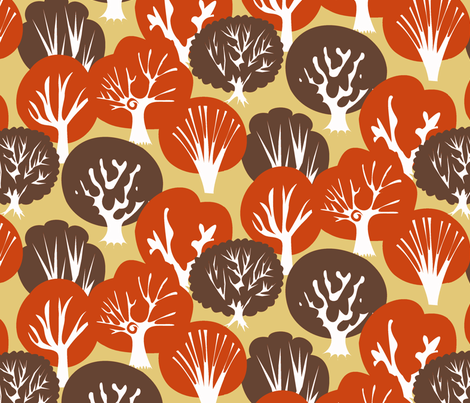 Fall Leaves dark brown fabric by fussypants on Spoonflower - custom fabric