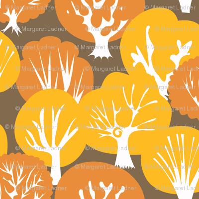 Fall Leaves dark brown background