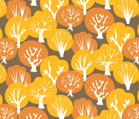 Fall Leaves dark brown background fabric by fussypants on Spoonflower - custom fabric