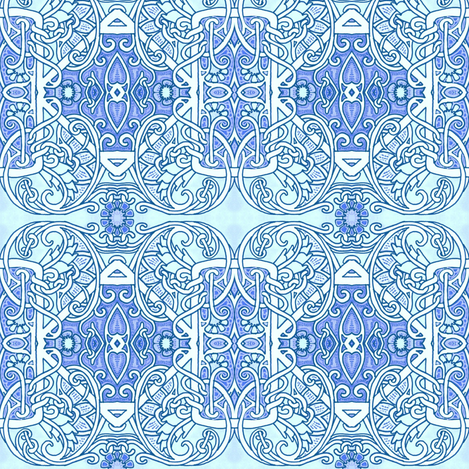 Twisted Time in Blue fabric by edsel2084 on Spoonflower - custom fabric