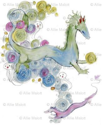 Pearls and swirls Dragon mirror repeat