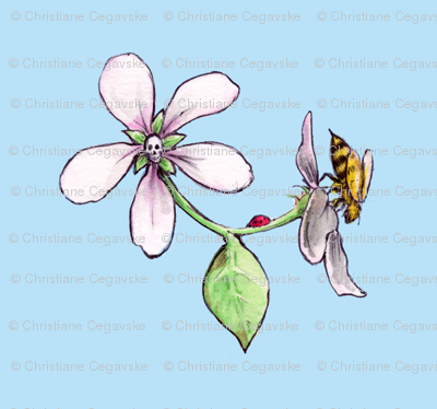 apple blossom with skull, honeybee and ladybug