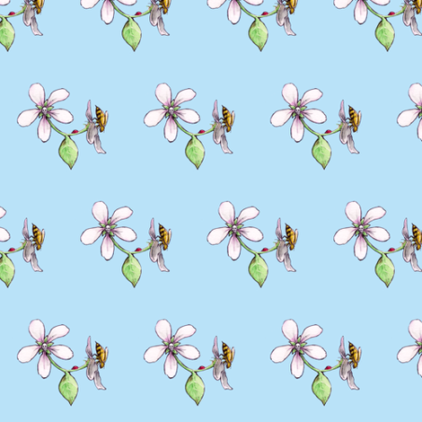 apple blossom with skull, honeybee and ladybug fabric by littlemisscrow on Spoonflower - custom fabric