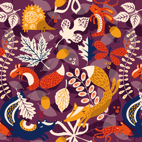 Lots of Leaves (small scale) fabric by verycherry on Spoonflower - custom fabric