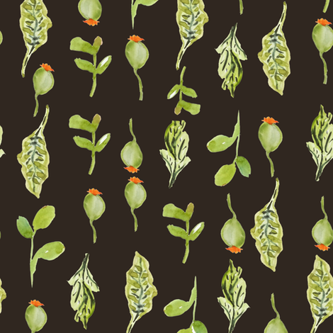 Botanical Stripe In Chocolate fabric by susan_magdangal on Spoonflower - custom fabric