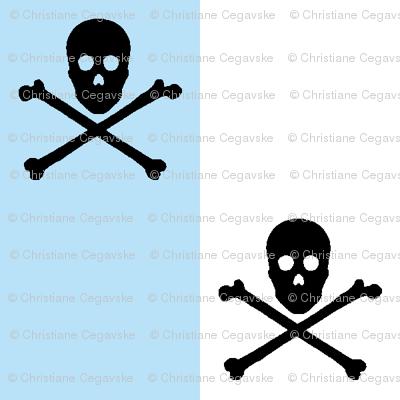 black skull and crossbones on blue and white stripe