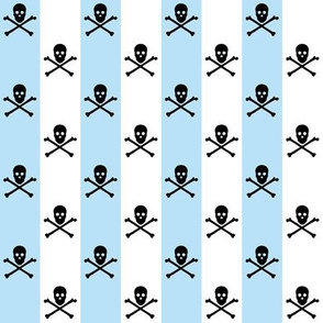 black skull and crossbones on blue and white stripe