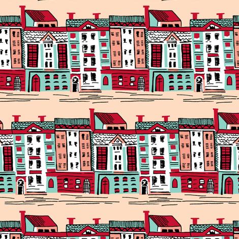 Mid Century Street Aqua fabric by tuppencehapenny on Spoonflower - custom fabric