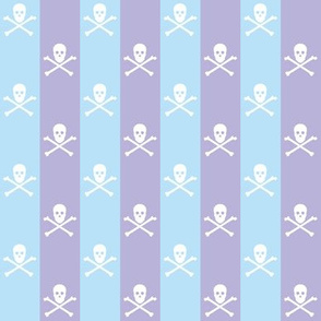 white skull and crossbones on light blue and lavender stripe