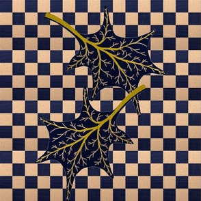 Leaves on wavy navy check by Su_G