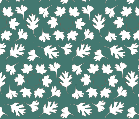 Hexagonal Pattern Leaves_ minagreen-white fabric by mina on Spoonflower - custom fabric