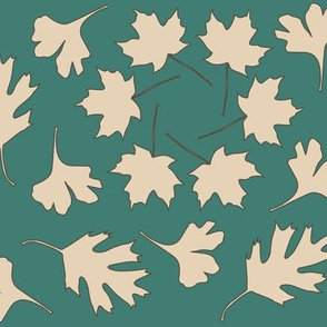 Geometric Array Leaves Falling_3-color