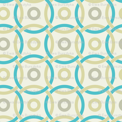 interlocking circles turquoise and pale yellow