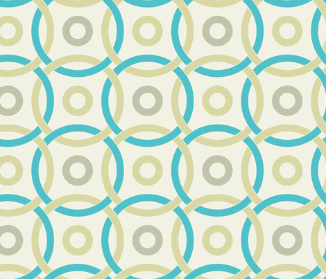 interlocking circles turquoise and pale yellow fabric by ravynka on Spoonflower - custom fabric