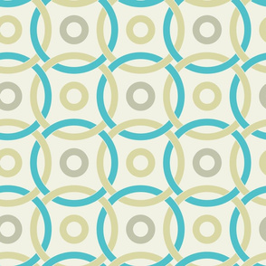 interlocking circles turquoise and pale yellow