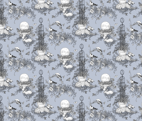 My Garden Toile Main Small Grey ©2011 by Jane Walker fabric by artbyjanewalker on Spoonflower - custom fabric