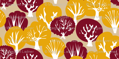 Fall Leaves with Mirrored Trees (Tan)