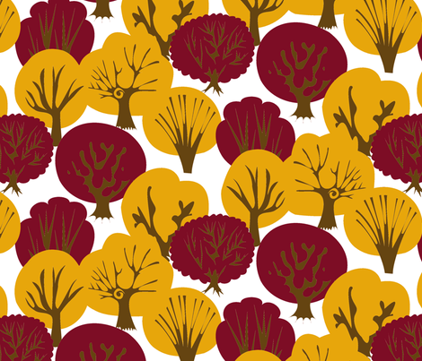 Fall Leaves with Mirrored Trees (White) fabric by fussypants on Spoonflower - custom fabric