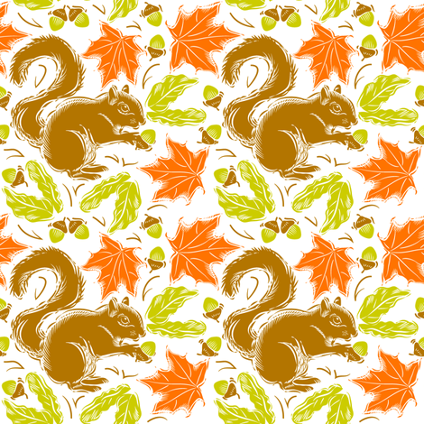 Squirrels Going Nuts fabric by dianne_annelli on Spoonflower - custom fabric