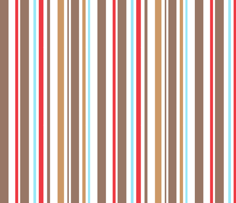 Aqua, red and taupe stripe fabric by pinkbrain on Spoonflower - custom fabric
