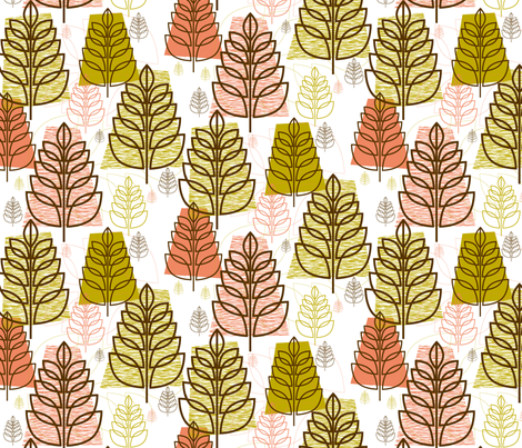 Autumn (White) || midcentury modern texture forest trees leaves nature upholstery fabric by pennycandy on Spoonflower - custom fabric