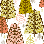 Autumn (White) || midcentury modern texture forest trees leaves nature upholstery