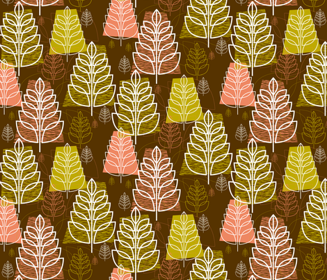 Autumn (Brown) || midcentury modern texture forest trees leaves nature upholstery fabric by pennycandy on Spoonflower - custom fabric