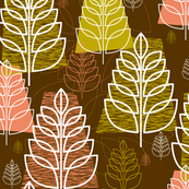 Autumn (Brown) || midcentury modern texture forest trees leaves nature upholstery